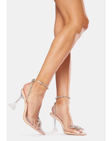 Nude Cinderella Diamante Bow Heels