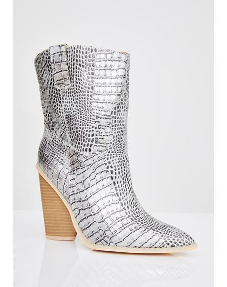 Chrome Toxic Cowboy Snakeskin Boots