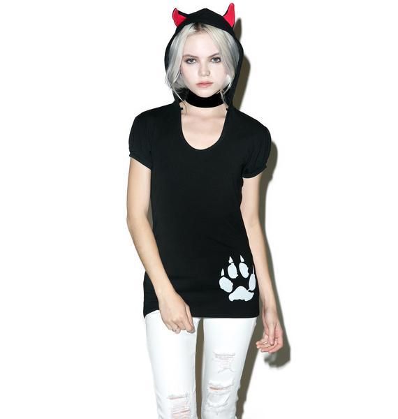 Kreepsville 666 Black Cat Hoody Tunic Top