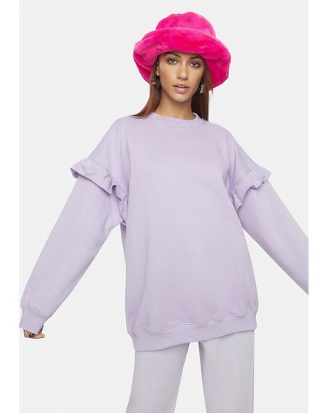 Jen Ruffle Crewneck Sweatshirt