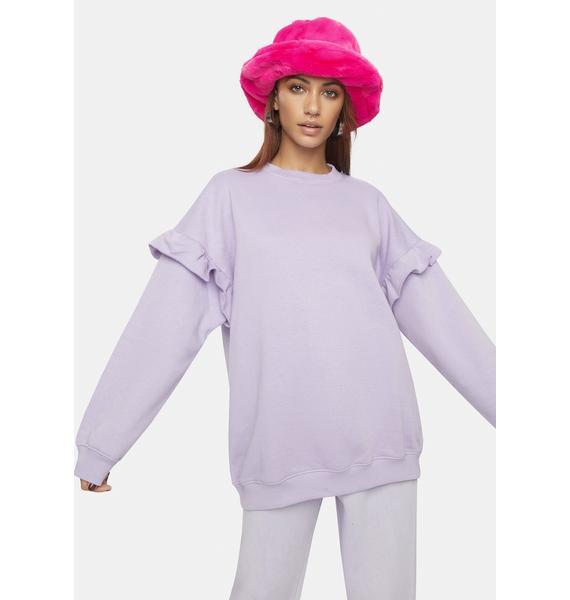 Daisy Street Jen Ruffle Crewneck Sweatshirt