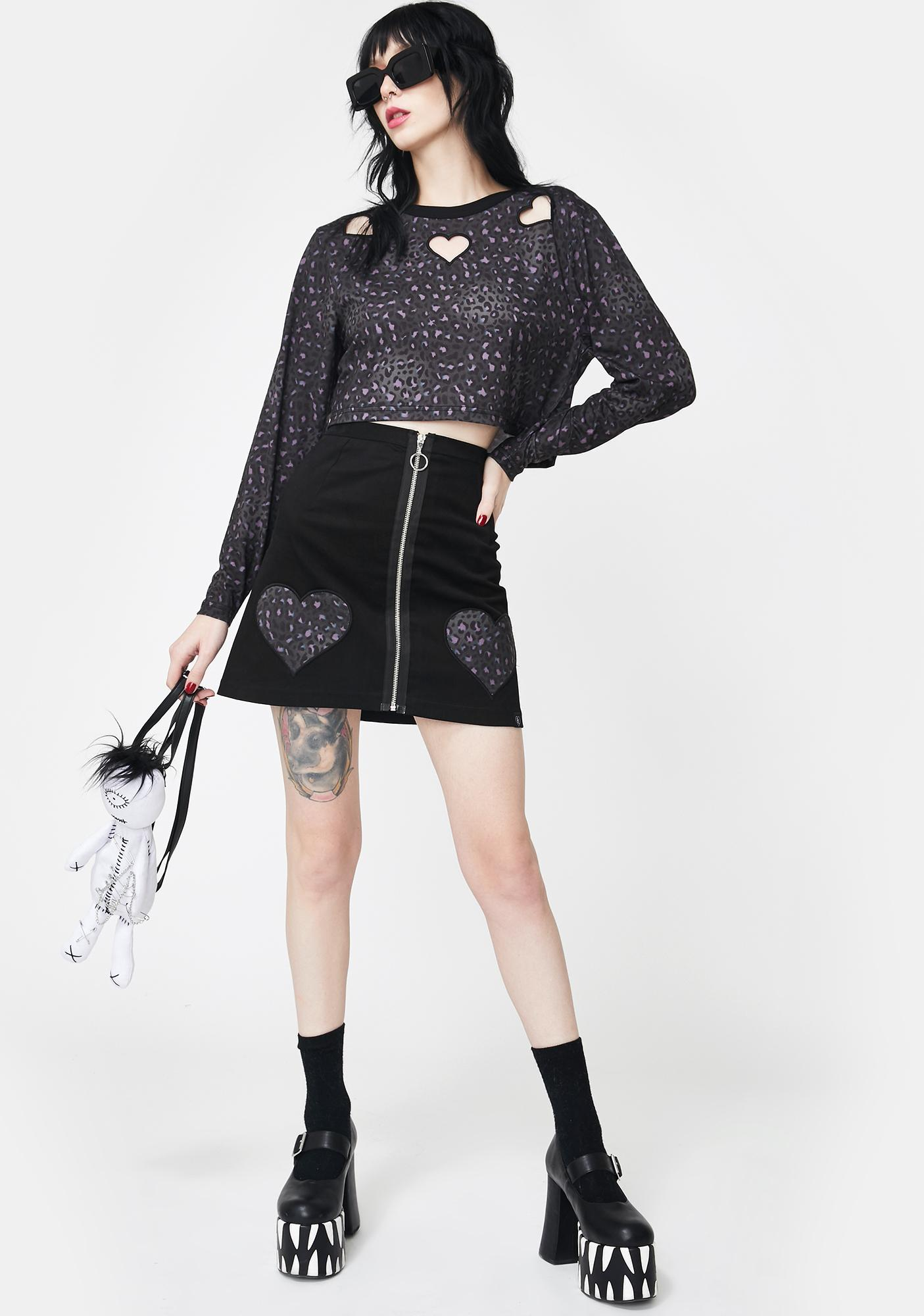 Fearless Illustration Cheetah Heart Mini Skirt