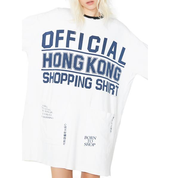 Vintage 80s Official Hong Kong Shopping Tee Dress