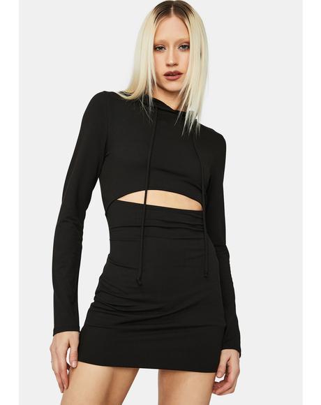 Shock & Awe Cutout Hoodie Mini Dress