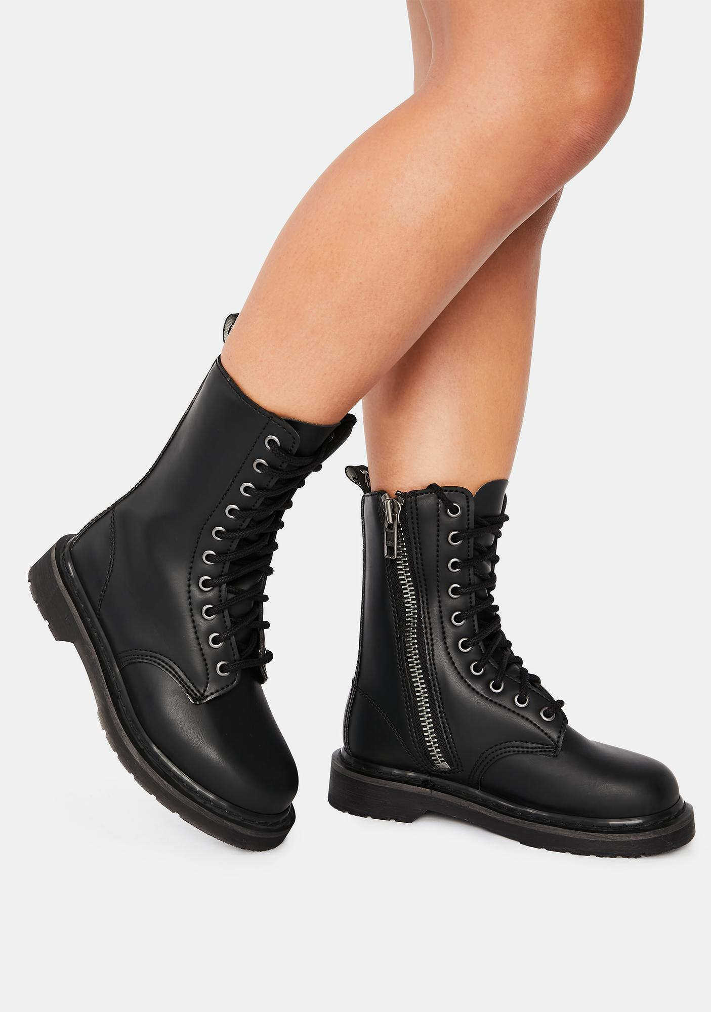 Demonia Never Back Down Combat Boots