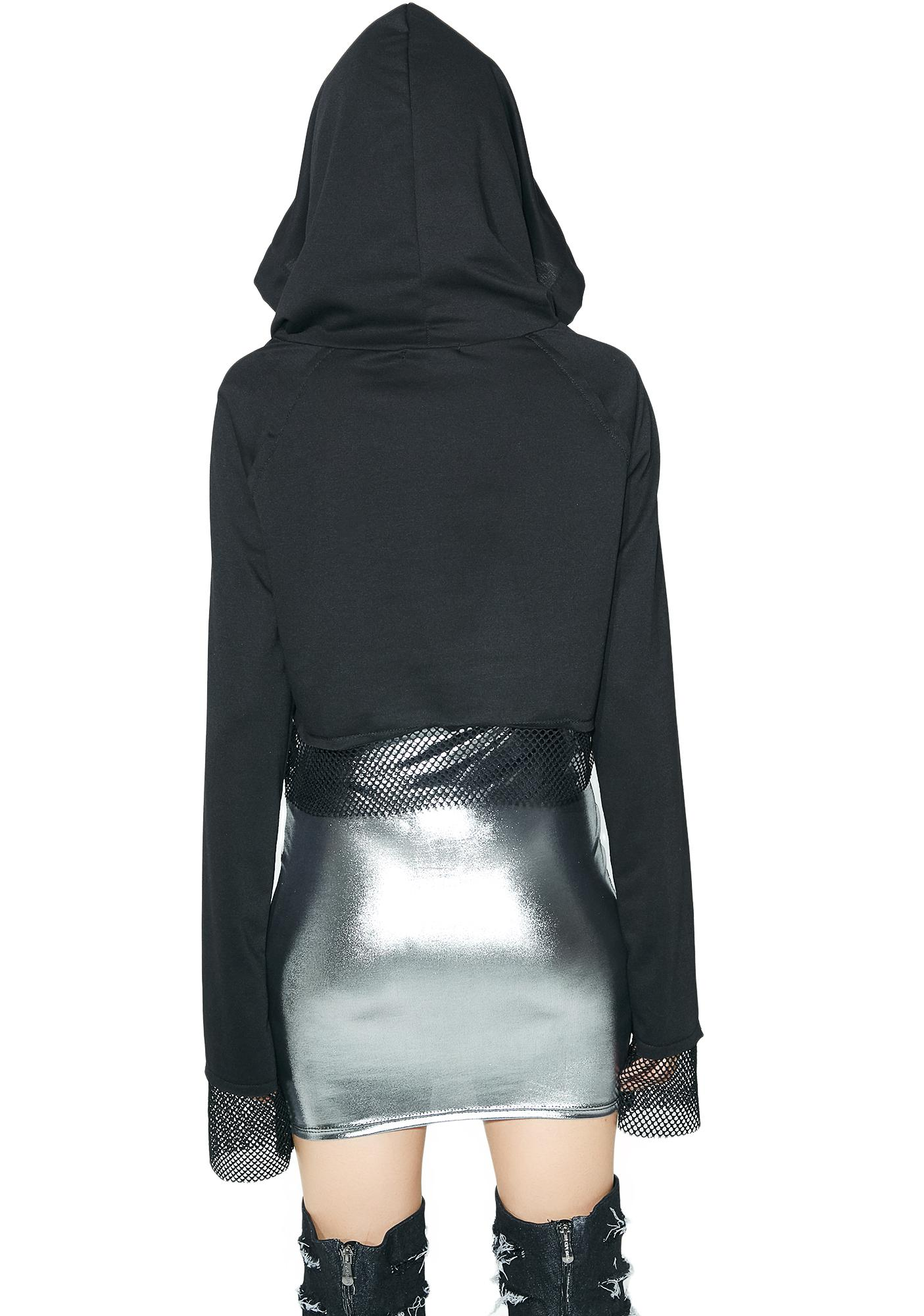 All Sin Lace-Up Cropped Hoodie
