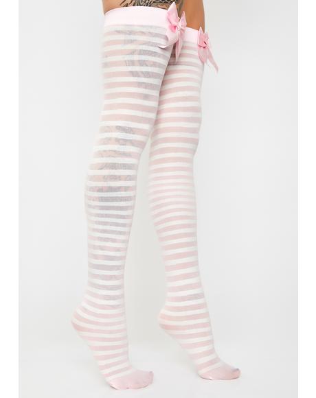 Peek-A-Bow Thigh High Socks