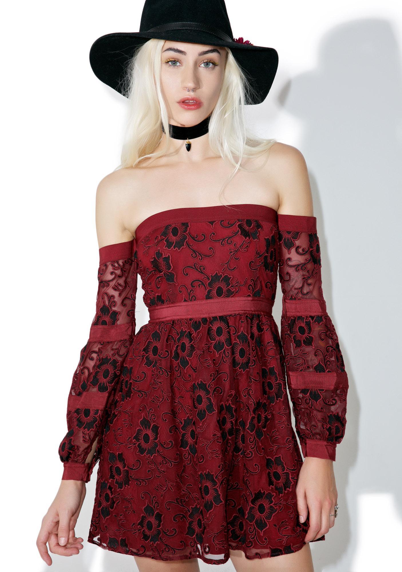 cead2b616edb For Love   Lemons Burgundy Jolene Off-Shoulder Dress