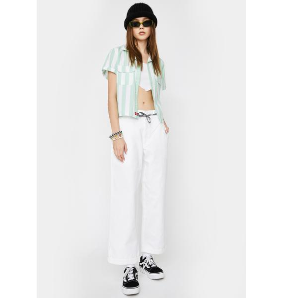 Dickies Girl White Rolled Hem Crop Work Pants
