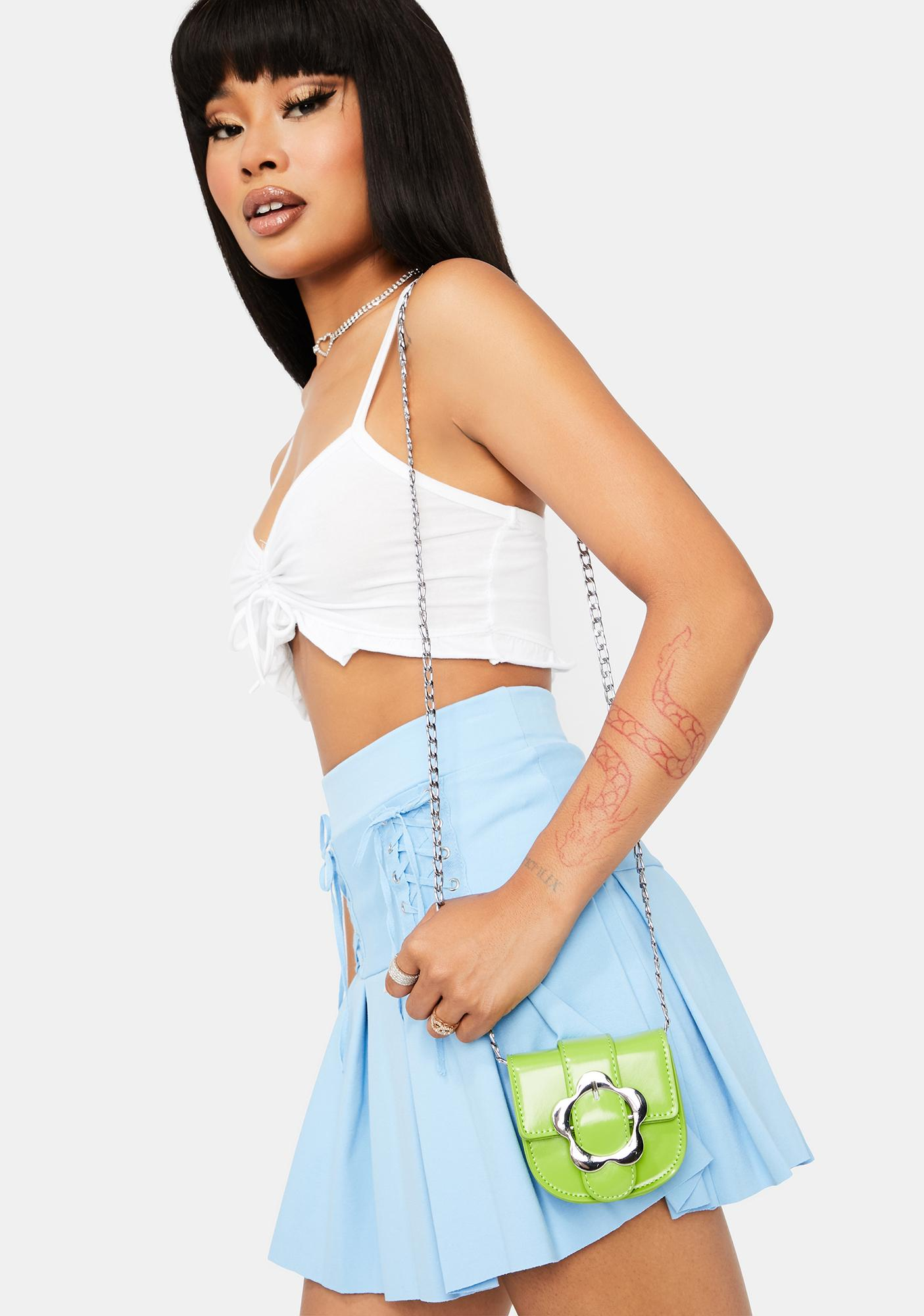 Green Once And Floral Mini Crossbody Bag