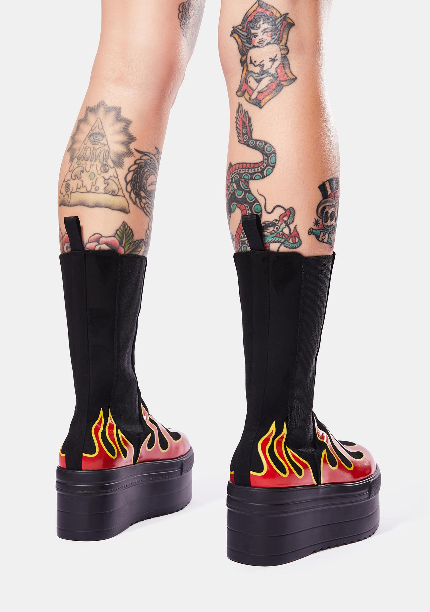 Lamoda Soul On Fire Chunky High Ankle Flatform Boots