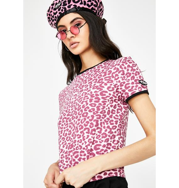 Lazy Oaf Pink Leopard Fitted Tee