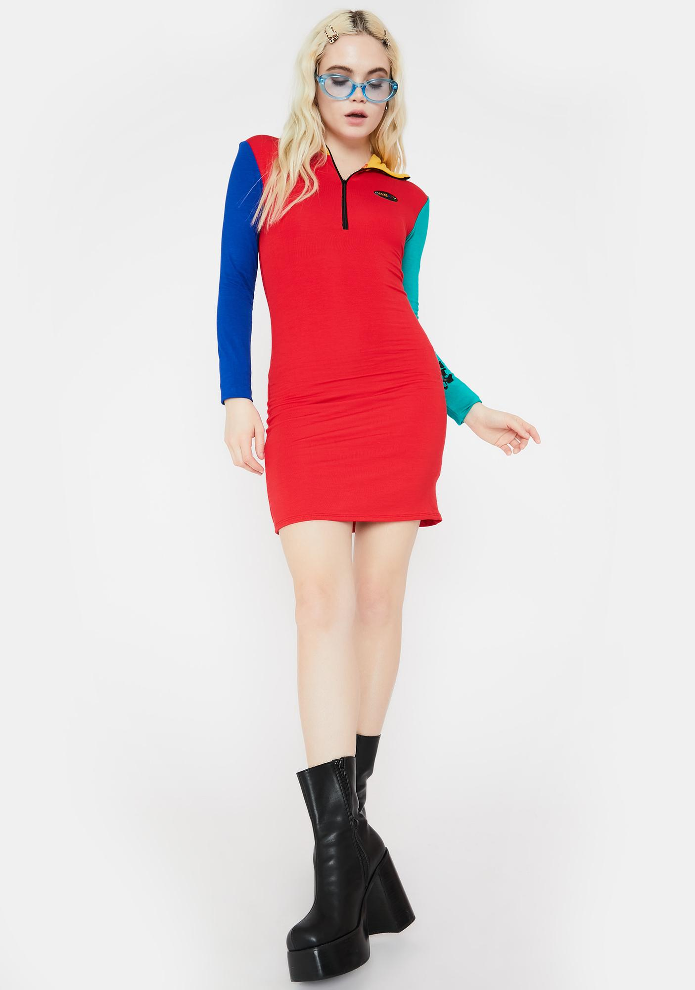 O Mighty ABC Turtleneck Colorblock Dress