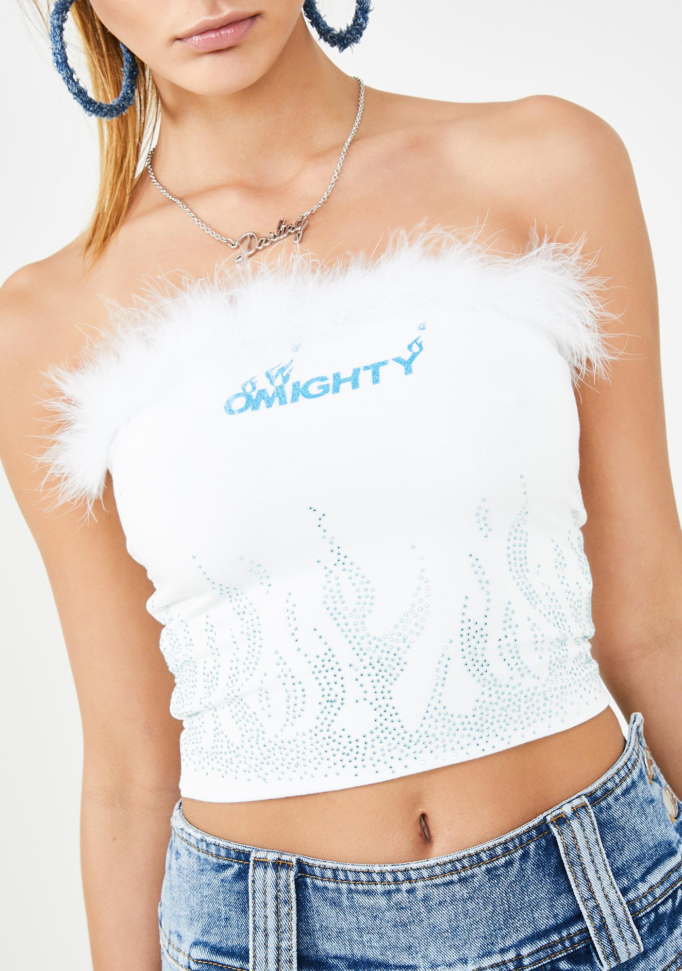 O Mighty Icy Flame Marabou Top