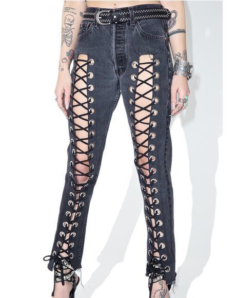 Reworked Levi's Black Denim Lace-Up Jeans