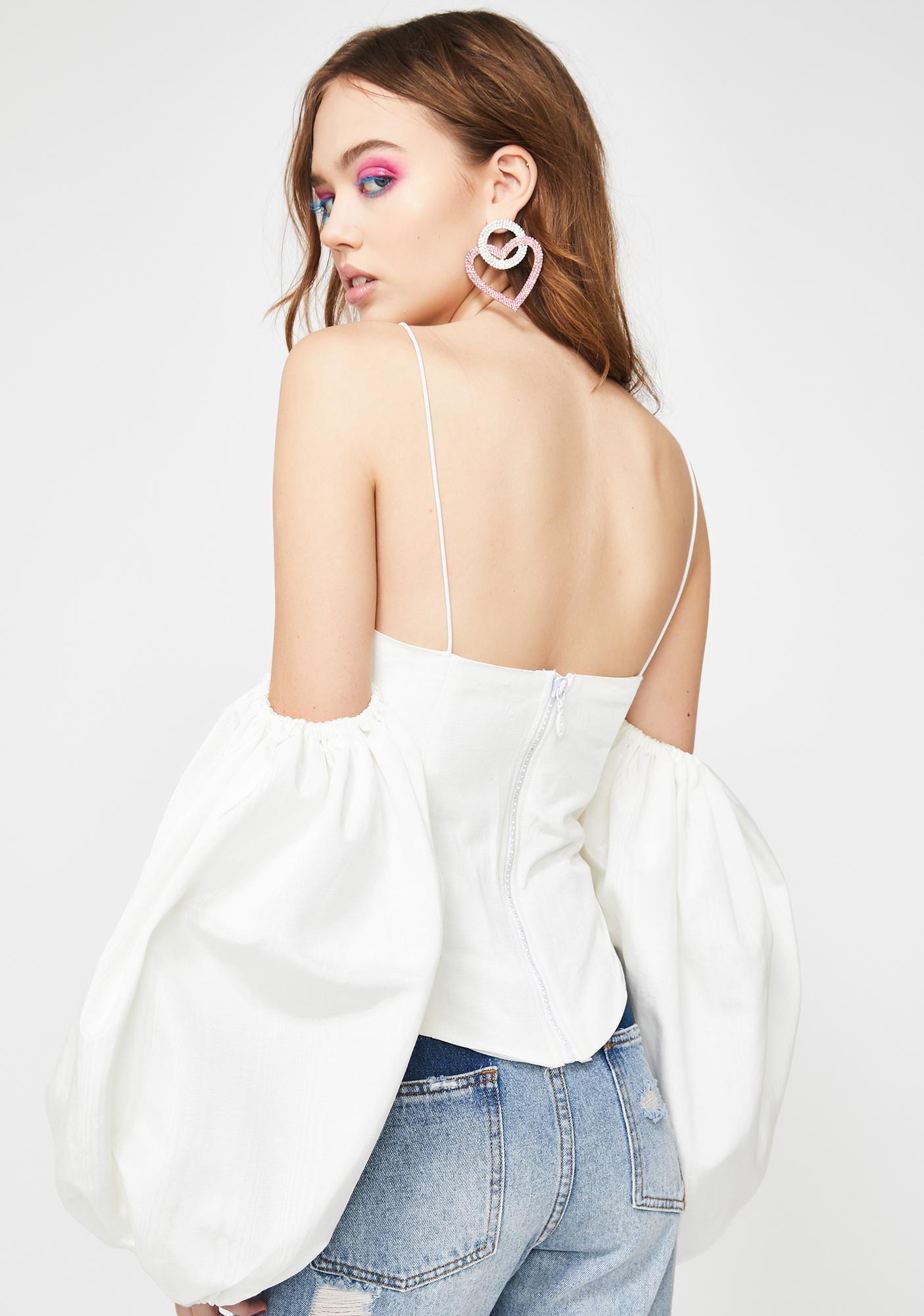 For Love & Lemons Celeste Moire Cold Shoulder Top