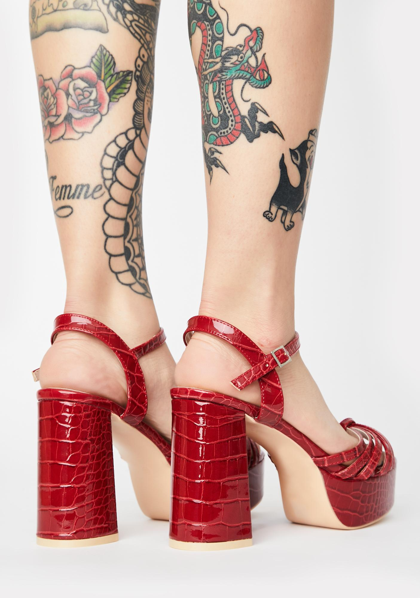 Public Desire Red Nadia Platform Heels
