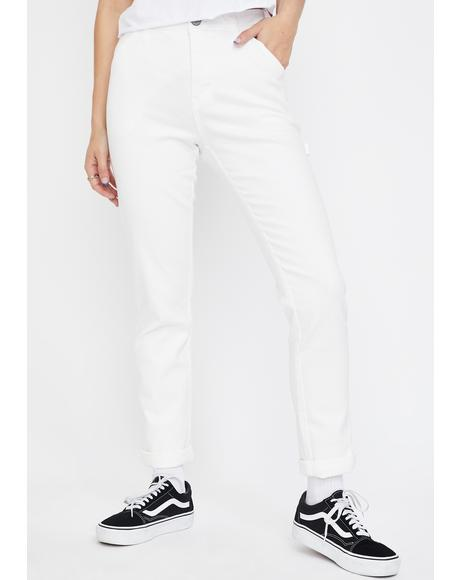 White Slim Carpenter Pants