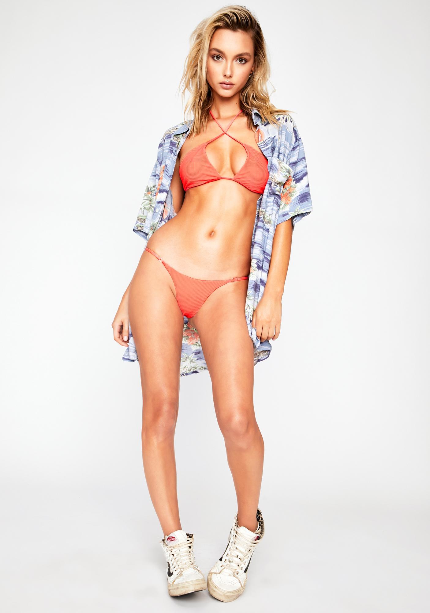 Frankies Bikinis Coral Pamela Bikini Top
