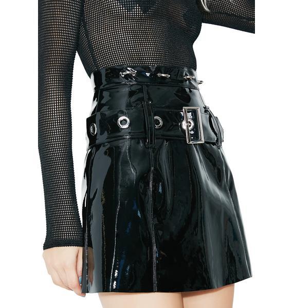 Stuck on Stupid Onyx High Alert Vinyl Skirt