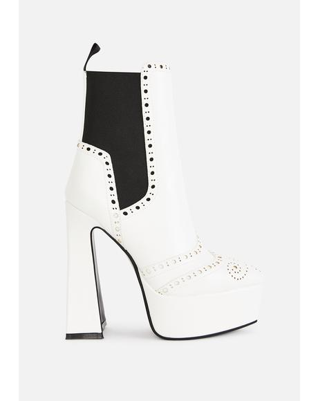 White Lost Control Platform Boots