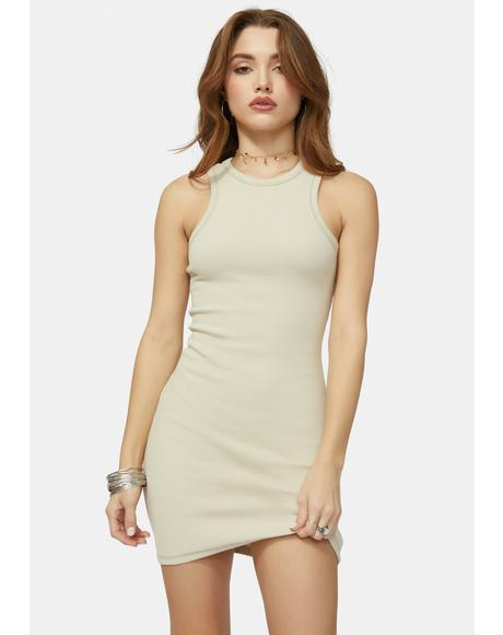 Cream Dish It Tank Dress