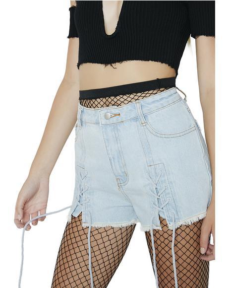 Fairweather Lace-Up Denim Shorts