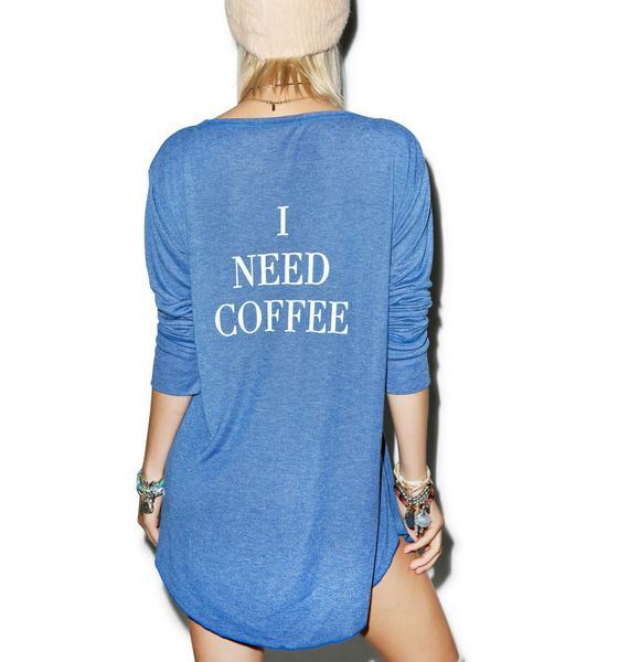 Wildfox Couture I Need Coffee Snowed In Sleep Shirt