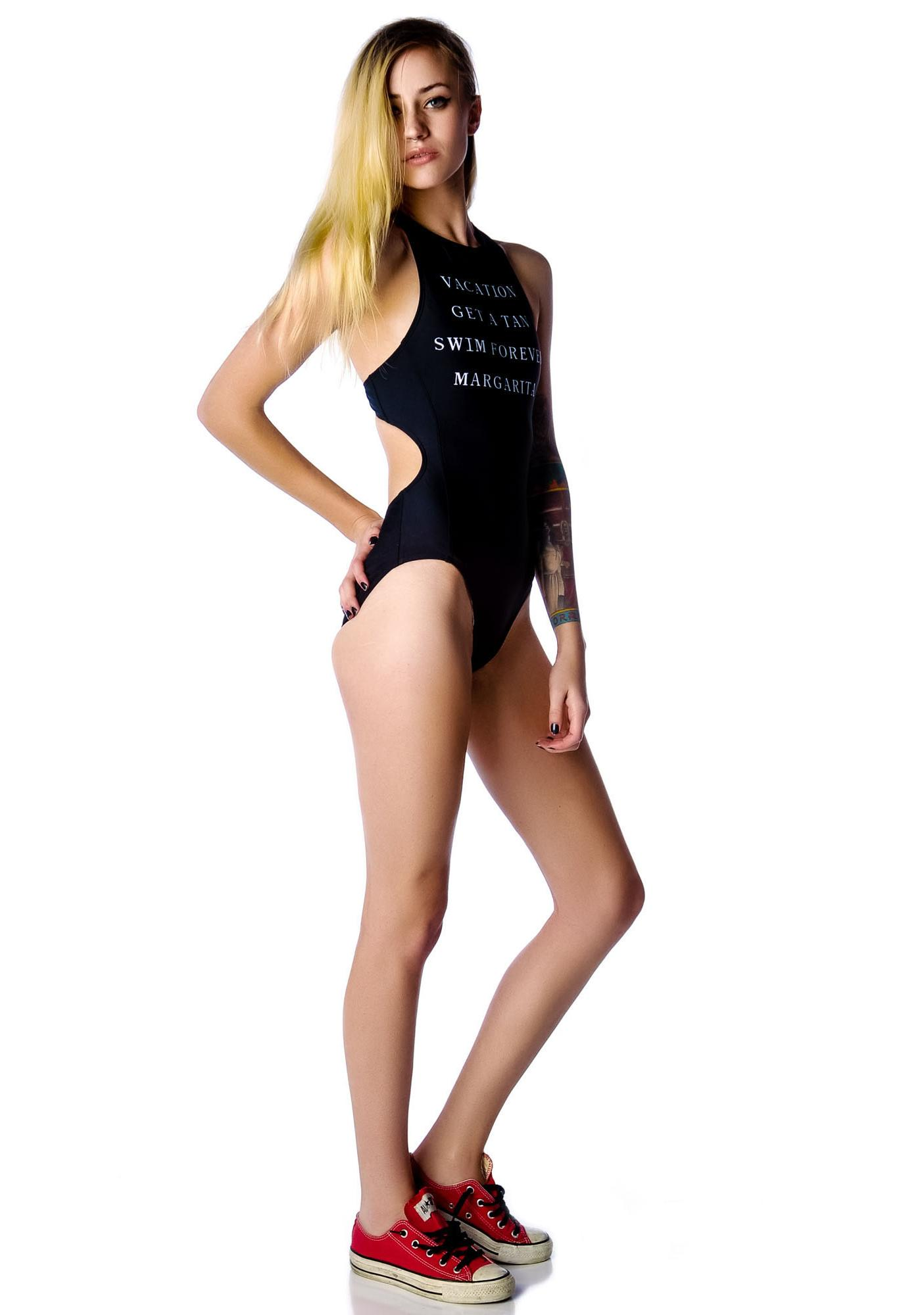 Wildfox Couture Vacation Foxy Fairchild Racer Back Mono-Kini Swimsuit