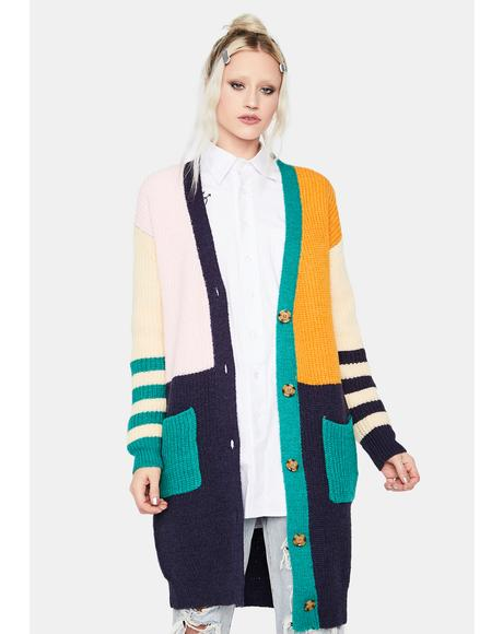 Keyless Cutie Colorblock Long Cardigan