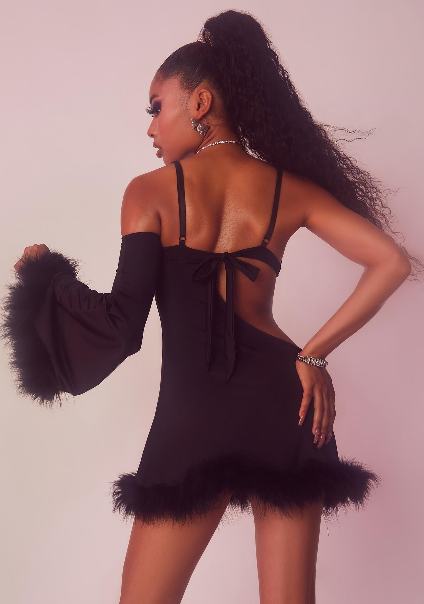 Dolls Kill x Yung Reaper Where's My Tiara Marabou Mini Dress