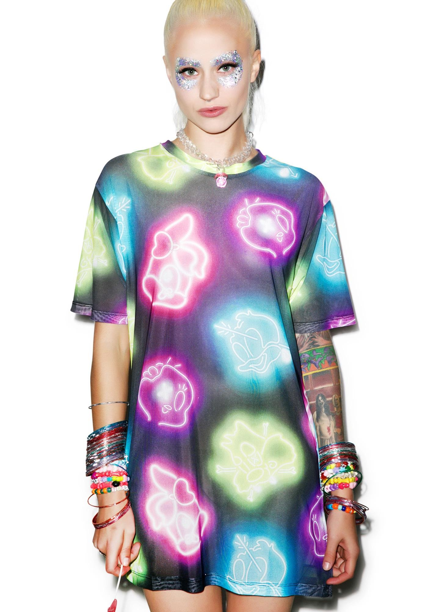 Coveted Society Space Trip Neon Lights Tee