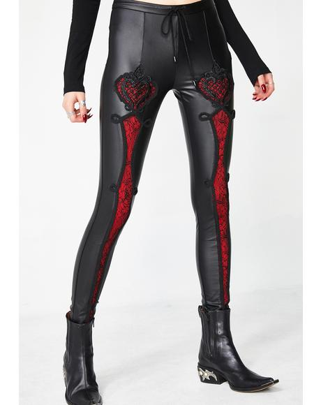 Vampire Sweet Love Leather Gothic Leggings