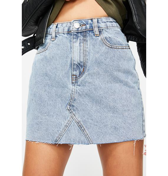 Momokrom Light Acid Wash Denim Skirt