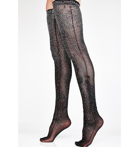 Kiki Riki Reign Down Crystal Thigh-High Socks