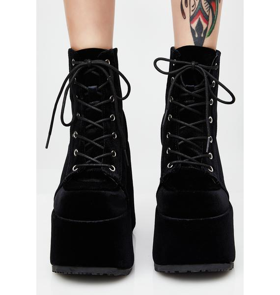 Demonia Velvet Rave Royalty Platform Boots