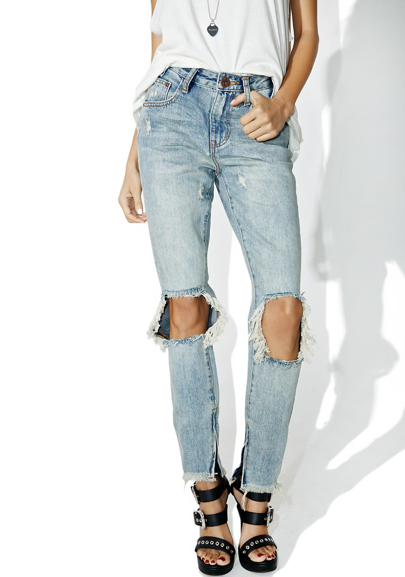 15004e5b41 One Teaspoon Whiskey High Waist Freebirds Jeans | Dolls Kill