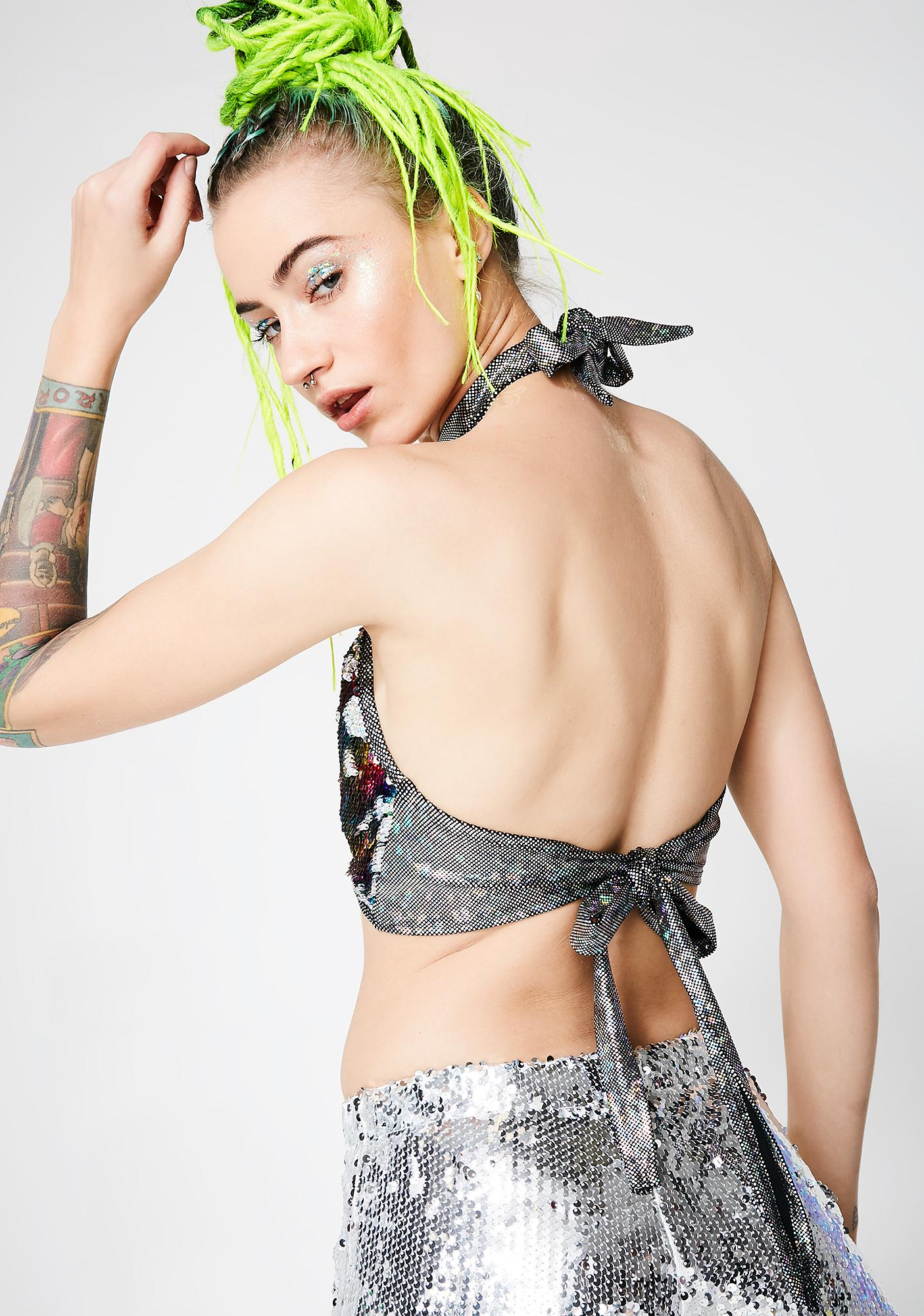 J Valentine Rainbow Sequin Choker Top