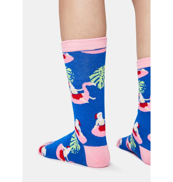 Tipsy Elves Santa Pool Party Crew Socks