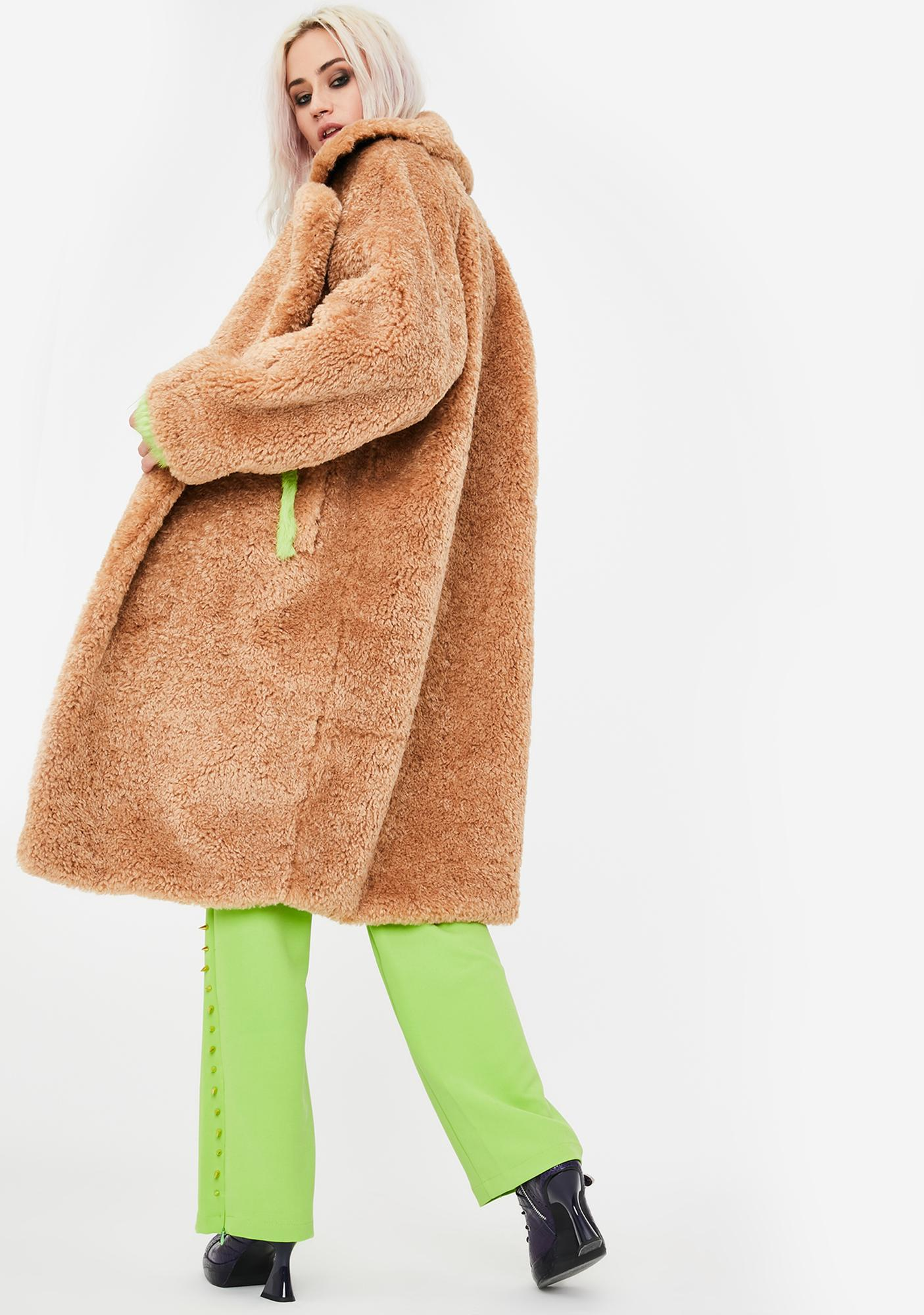 No Dress Green Fur Trim Teddy Coat