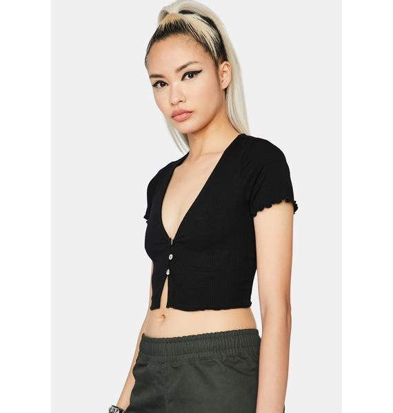 Dark That's On Me Button Up Tee