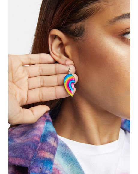 Rainbow Crush Half Heart Earrings