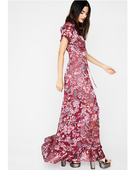 Berry Flora Maxi Dress