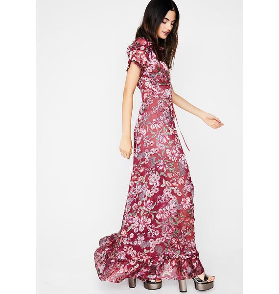 For Love & Lemons Berry Flora Maxi Dress