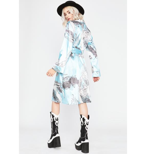 Aqua Never Play Nice Printed Kimono