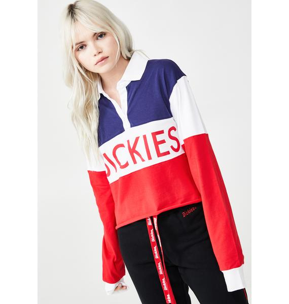 Dickies Girl Colorblock Logo Crop Rugby Tee