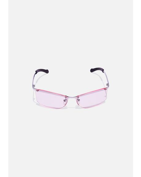 Pink Ness Frameless Sunglasses