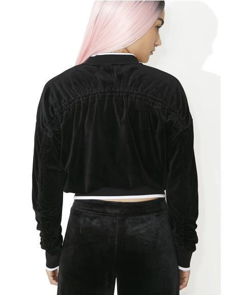 Velour Ruched Track Jacket