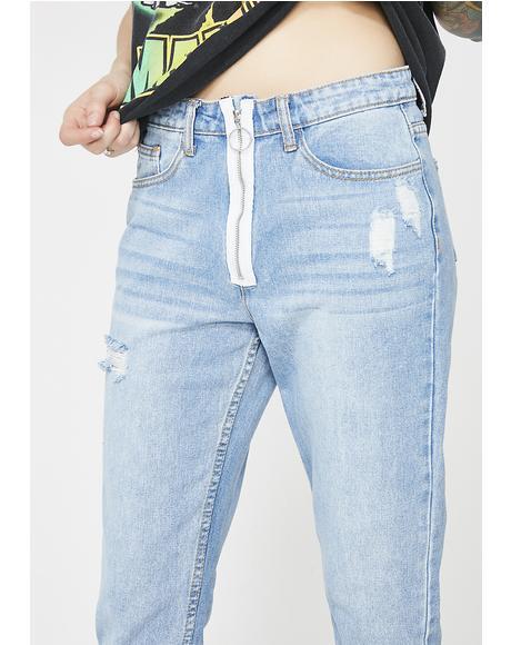 Zip Front Jeans