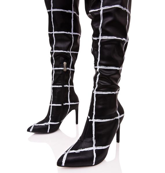 Gridwork Thigh-High Boots